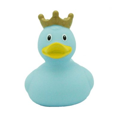 blue crown rubber duck