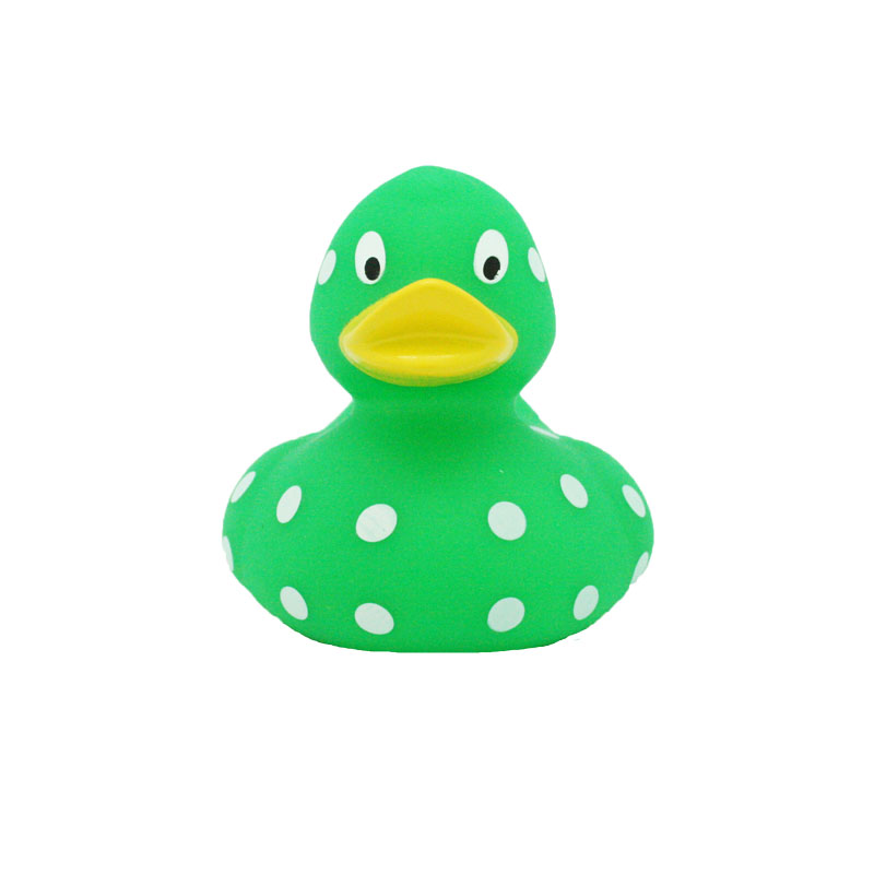 green white dots rubber duck